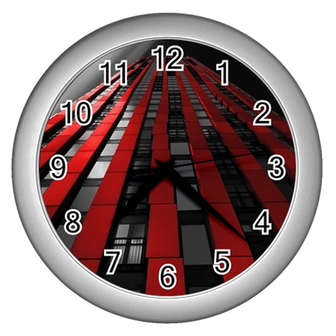 Red Building City Wall Clocks (Silver)