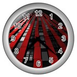 Red Building City Wall Clocks (Silver)  Front