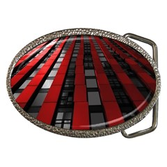 Red Building City Belt Buckles