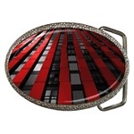 Red Building City Belt Buckles Front