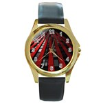 Red Building City Round Gold Metal Watch Front