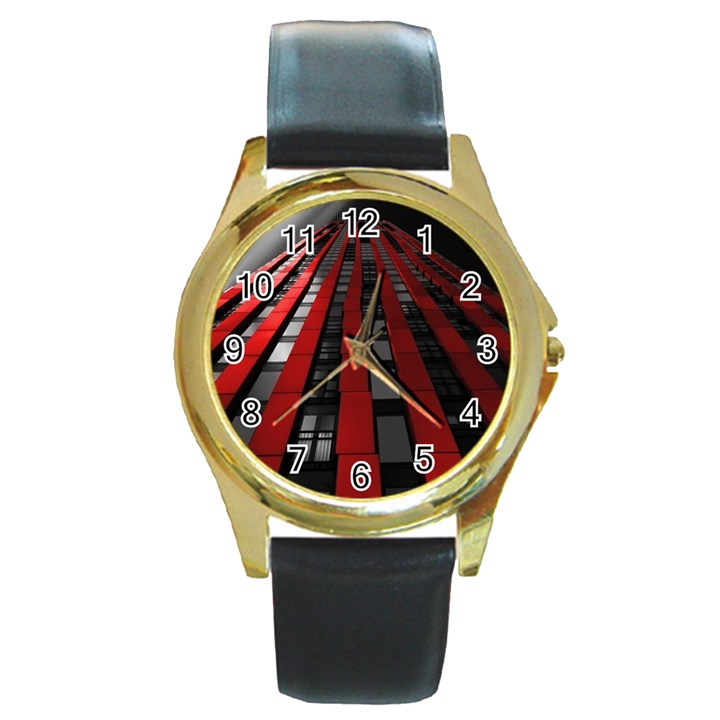 Red Building City Round Gold Metal Watch