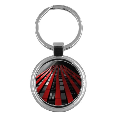 Red Building City Key Chains (Round)