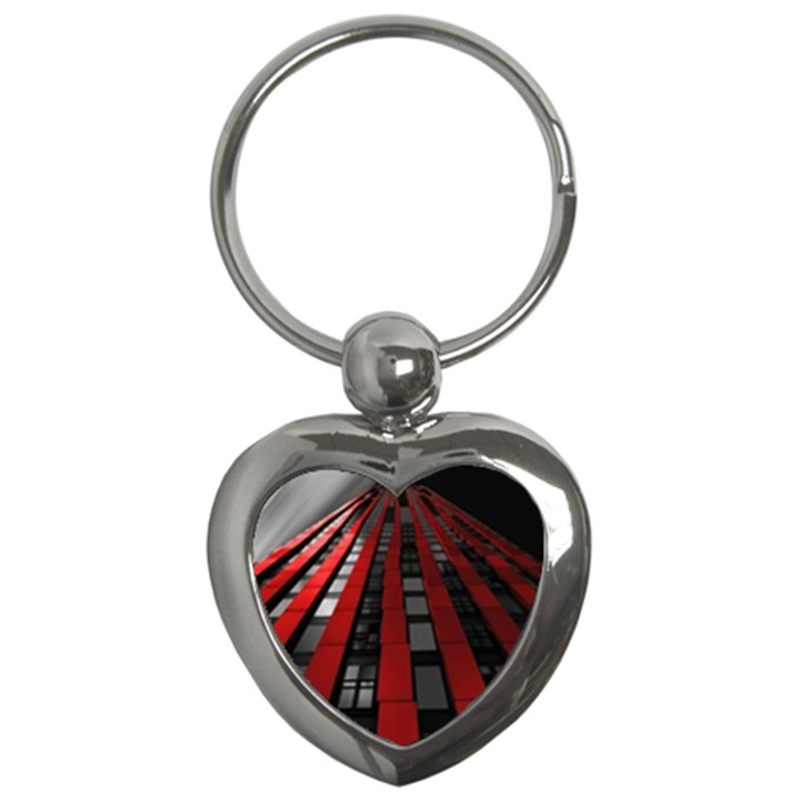 Red Building City Key Chains (Heart)