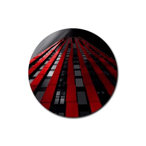 Red Building City Rubber Round Coaster (4 pack)