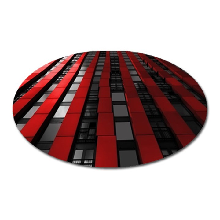 Red Building City Oval Magnet