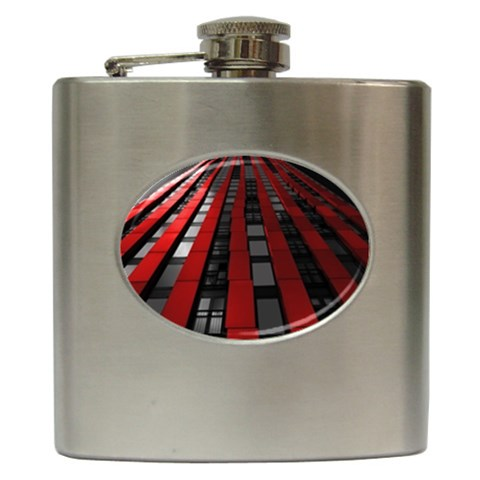 Red Building City Hip Flask (6 oz)