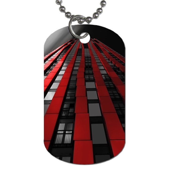 Red Building City Dog Tag (Two Sides)