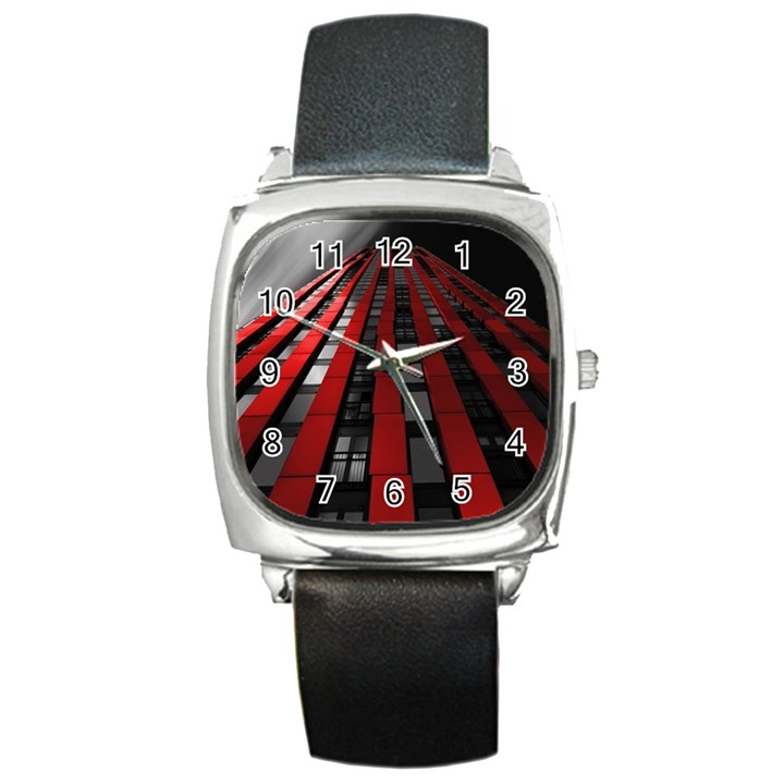 Red Building City Square Metal Watch