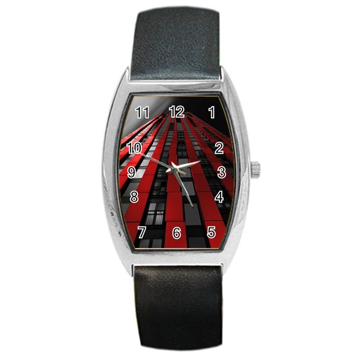 Red Building City Barrel Style Metal Watch
