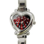 Red Building City Heart Italian Charm Watch Front