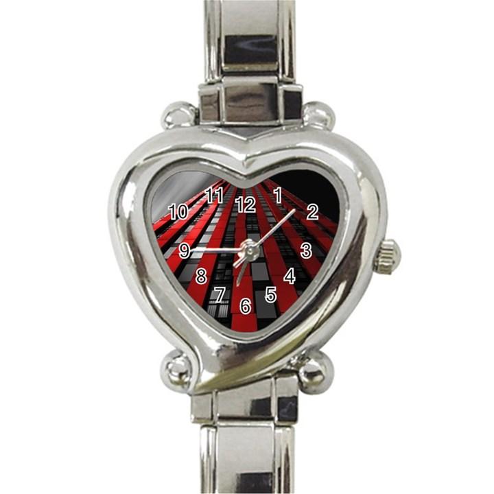 Red Building City Heart Italian Charm Watch