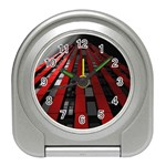 Red Building City Travel Alarm Clocks Front