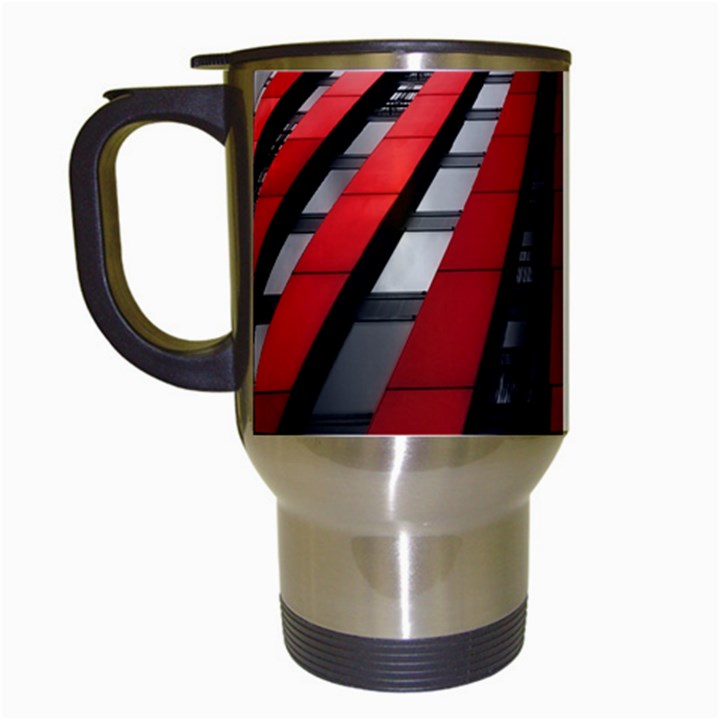 Red Building City Travel Mugs (White)