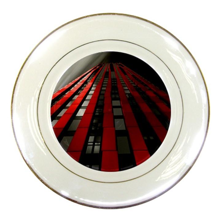 Red Building City Porcelain Plates