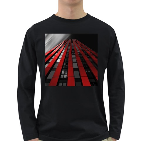 Red Building City Long Sleeve Dark T-Shirts