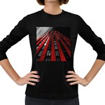 Red Building City Women s Long Sleeve Dark T-Shirts Front