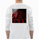 Red Building City White Long Sleeve T-Shirts Back