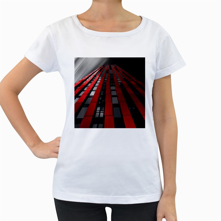 Red Building City Women s Loose-Fit T-Shirt (White)