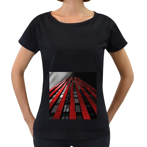 Red Building City Women s Loose-Fit T-Shirt (Black)