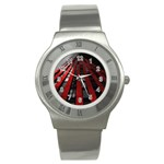 Red Building City Stainless Steel Watch Front