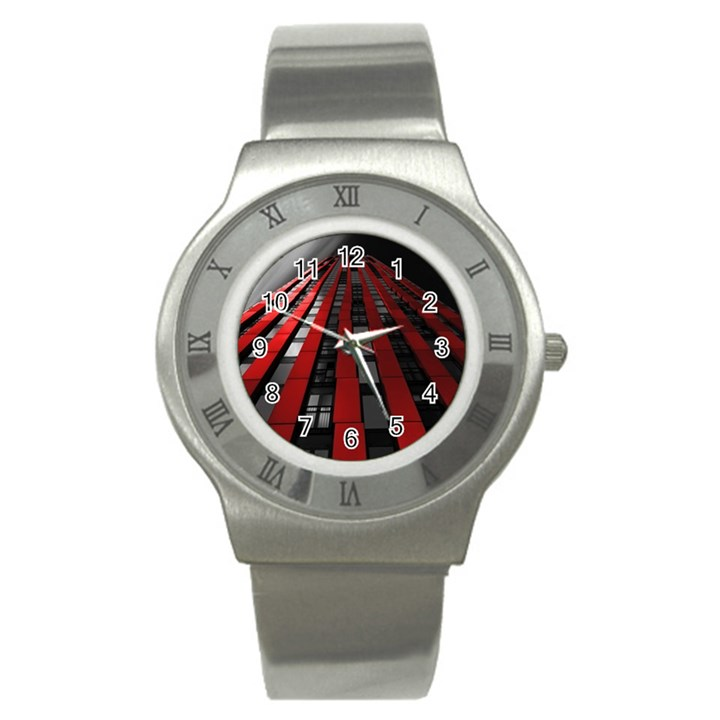 Red Building City Stainless Steel Watch