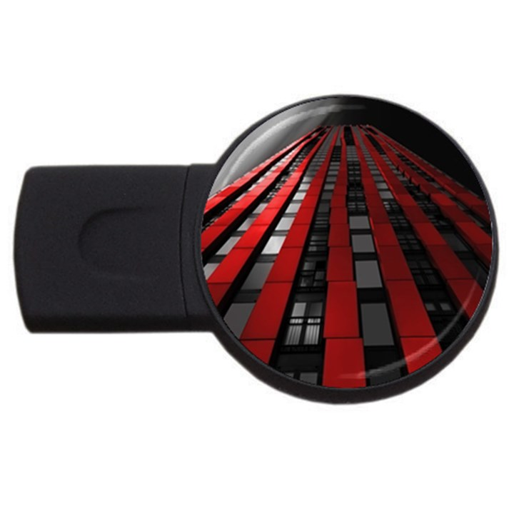 Red Building City USB Flash Drive Round (4 GB)