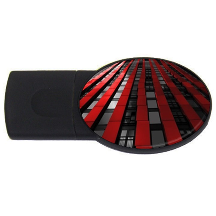 Red Building City USB Flash Drive Oval (4 GB)