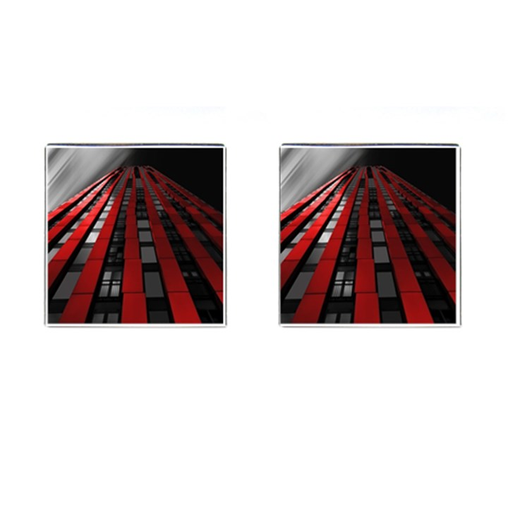 Red Building City Cufflinks (Square)