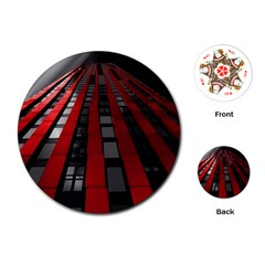 Red Building City Playing Cards (Round)