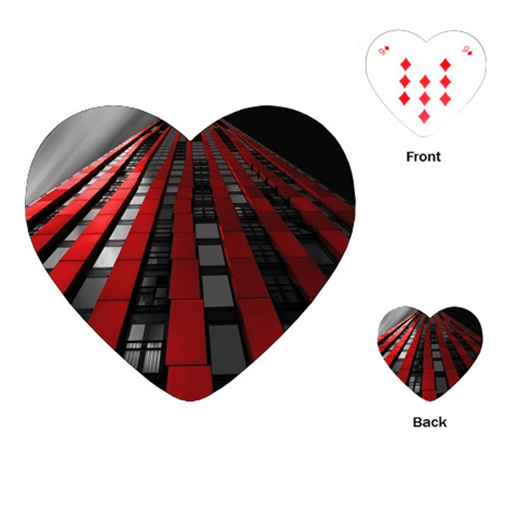 Red Building City Playing Cards (Heart)