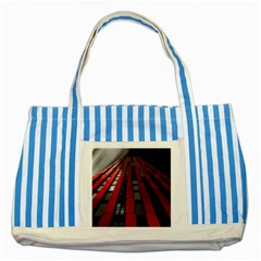 Red Building City Striped Blue Tote Bag