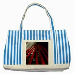 Red Building City Striped Blue Tote Bag Front