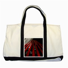Red Building City Two Tone Tote Bag