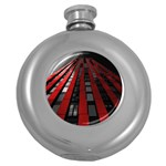 Red Building City Round Hip Flask (5 oz) Front