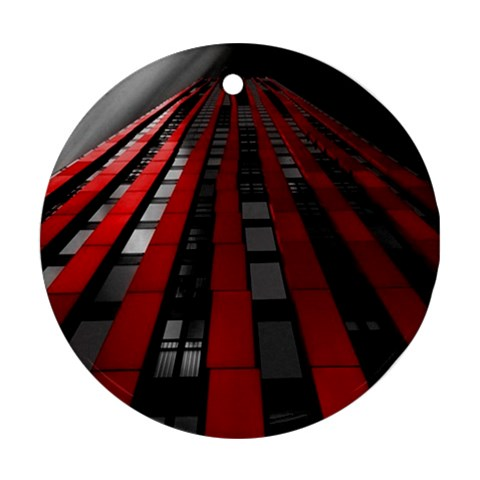 Red Building City Round Ornament (Two Sides)