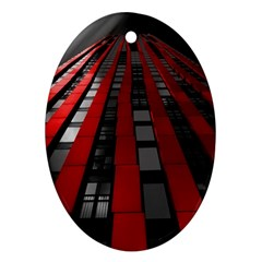 Red Building City Oval Ornament (Two Sides)