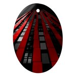 Red Building City Oval Ornament (Two Sides) Back