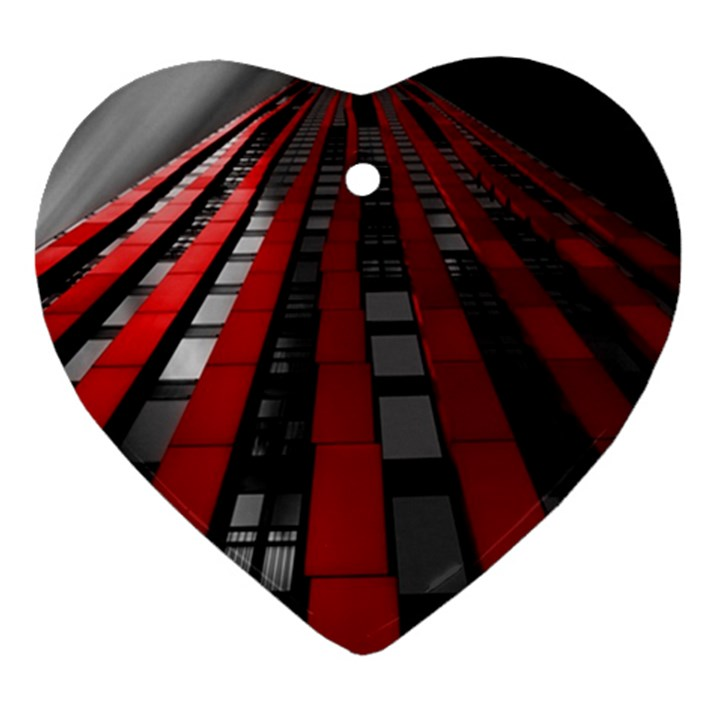 Red Building City Heart Ornament (2 Sides)