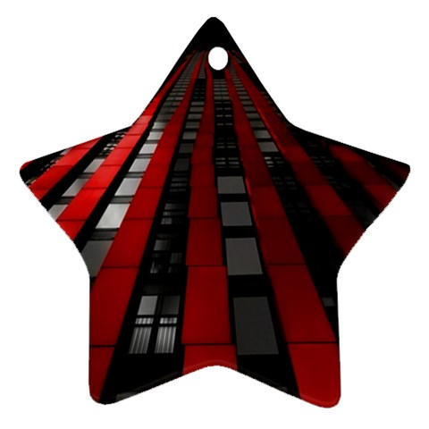 Red Building City Star Ornament (Two Sides)
