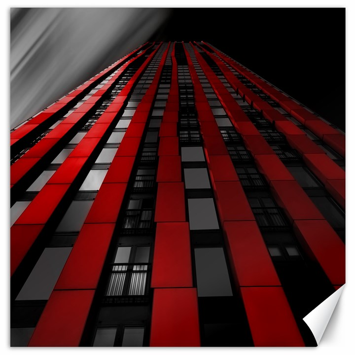 Red Building City Canvas 12  x 12