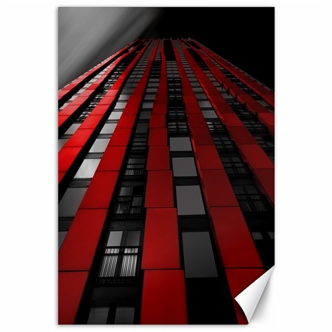 Red Building City Canvas 12  x 18
