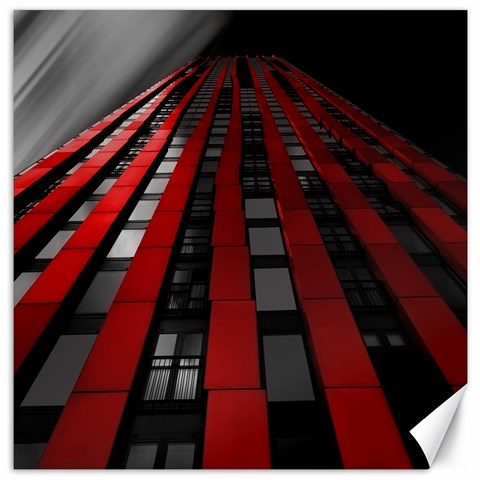 Red Building City Canvas 16  x 16
