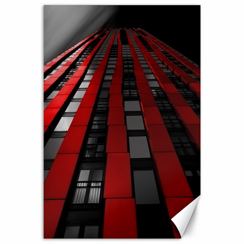 Red Building City Canvas 24  x 36