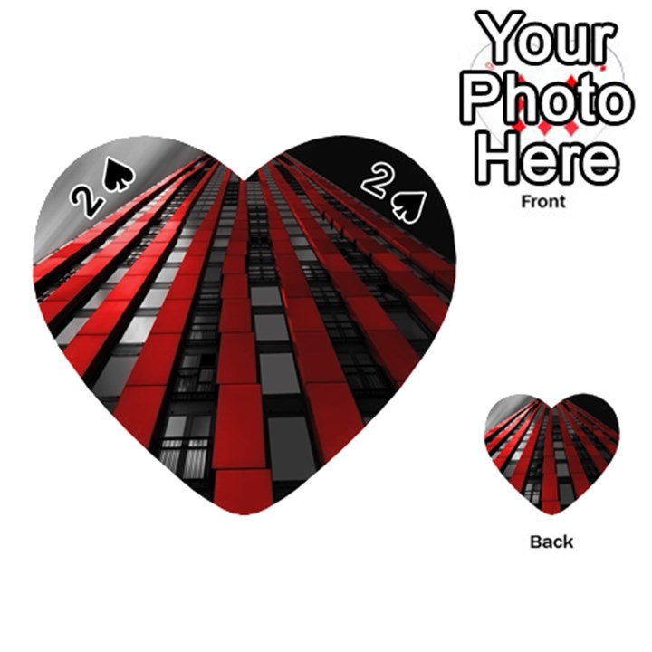 Red Building City Playing Cards 54 (Heart)