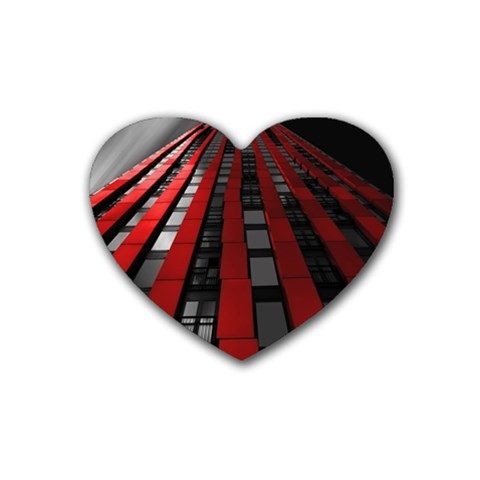 Red Building City Rubber Coaster (Heart)