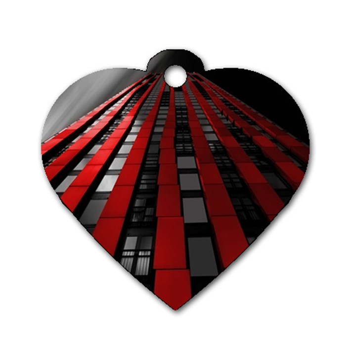 Red Building City Dog Tag Heart (Two Sides)