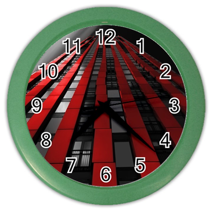 Red Building City Color Wall Clocks