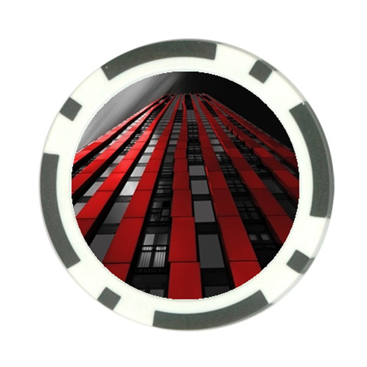 Red Building City Poker Chip Card Guards