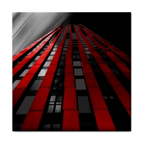 Red Building City Face Towel